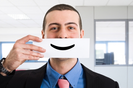 satisfied: Portrait of a funny smiling businessman