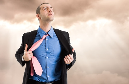 exalted: Portrait of an enlightened businessman Stock Photo
