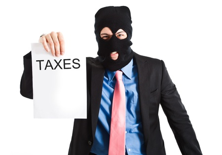 collector: Masked tax collector presenting the bill