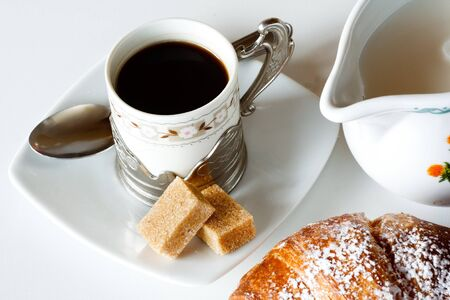 Breakfast with coffee and croissant Stock Photo - 15216735