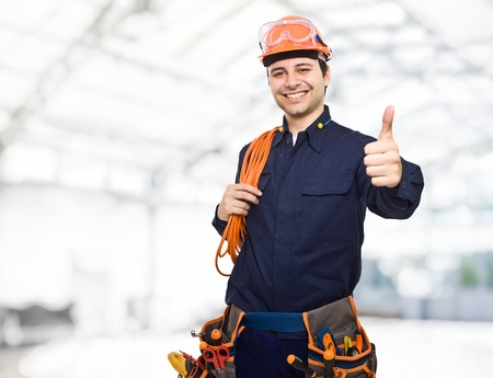 electrical contractor: Portrait of a smiling worker Stock Photo