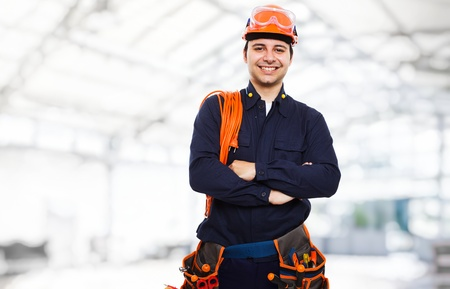 electrical contractor: Portrait of an happy worker