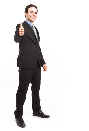 thumbs up: Full length portrait of a friendly businessman Stock Photo