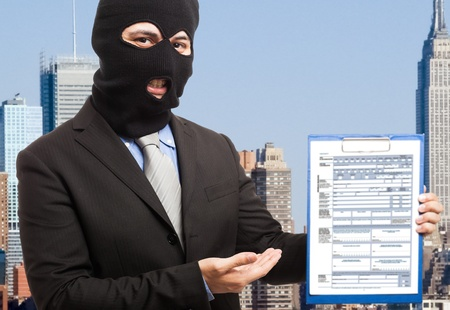 heavily: Thief businessman showing a document Stock Photo