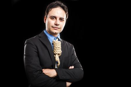 ahorcada: De negocios que muestra un nudo de lazo en lugar de la corbata