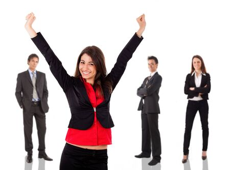 succesful: Smart young businesswoman raising hands in sign of victory