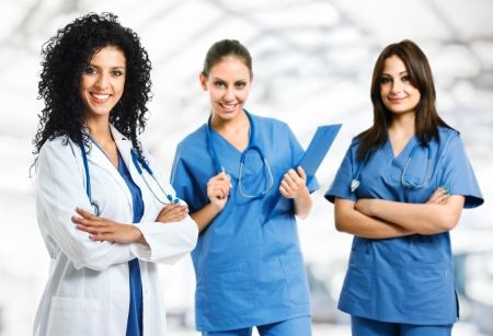 Group of young beautiful medical workers photo