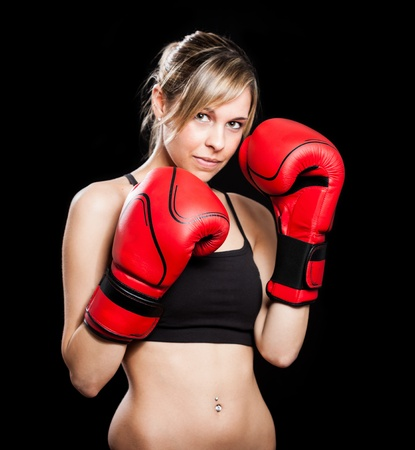 boxing match: Portrait of a beautiful female boxer