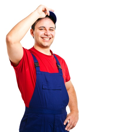 plumber: Portrait of an handsome worker  Isolated on white Stock Photo