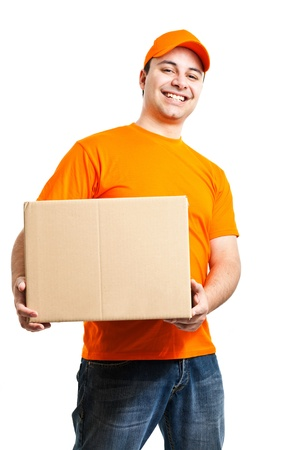 consign: Portrait of an handsome deliverer  Isolated on white Stock Photo
