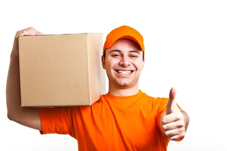 ship package: Portrait of an handsome deliverer  Isolated on white Stock Photo
