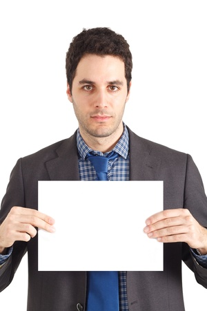 holding paper: Businessman holding a blank sign  The sign is perfectly  straight  Stock Photo