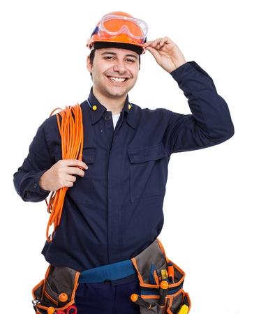 dělník: Portrét hezký dělník na bílém
