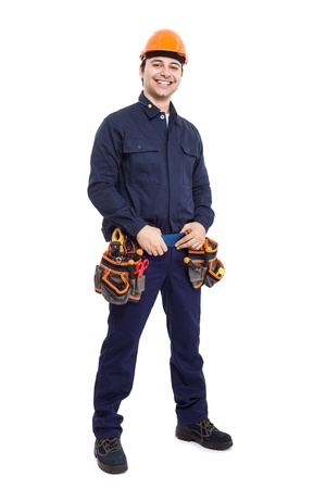 electrical engineering: Full length portrait of an happy worker