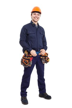 full uniform: Full length portrait of an happy worker