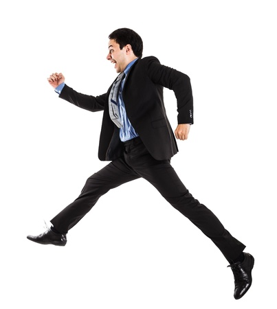 running late: Portrait of an active businessman Stock Photo