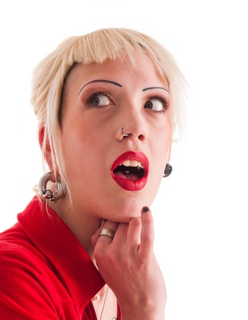 nose ring: Portrait of a young surprised woman Stock Photo