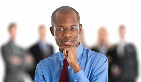Portrait of a businessman in front of his team Stock Photo - 15288179
