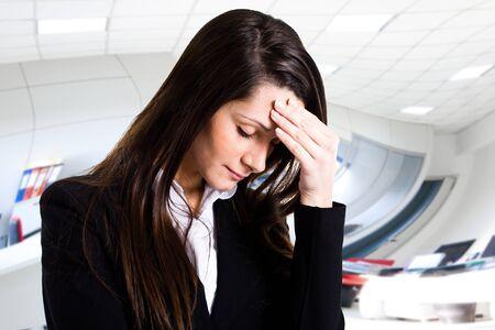 Retrato de una mujer estresada