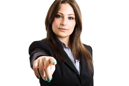 Businesswoman pointing her finger at you  Isolated on white photo