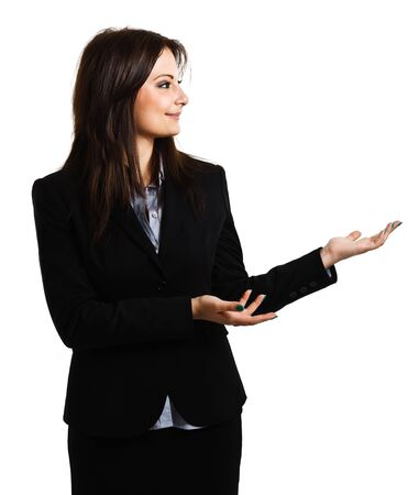 Business woman showing the copyspace using her hands  Isolated on white photo