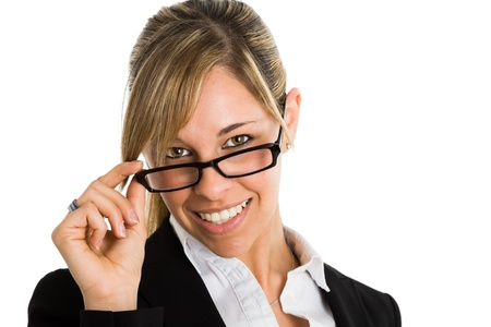 sexy teacher: Portrait of a beautiful woman holding her eyeglasses