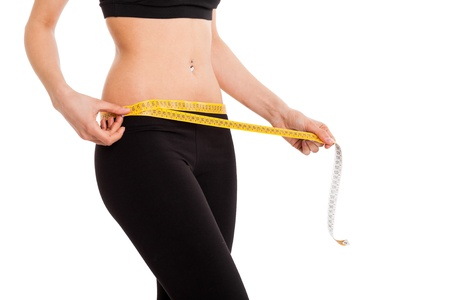 fat burning: Woman controlling her measures using a tape Stock Photo