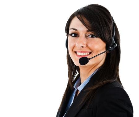gl�cklicher kunde: Portr�t einer sch�nen Kundenberater Lizenzfreie Bilder