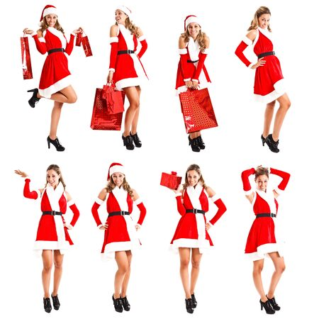 Full length portraits of a beautiful blonde girl wearing a Christmas dress photo