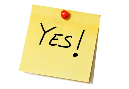 note of exclamation: Positive answer written on a sticky note