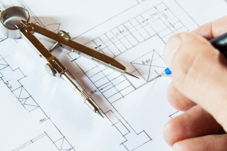building plan: Architect drawing a construction project