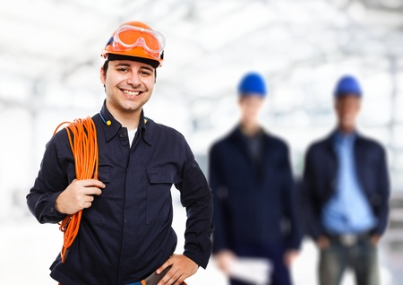mechanical men: Portrait of a smiling worker Stock Photo