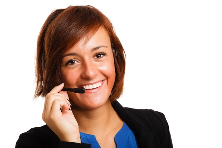 customer care: Portrait of a beautiful customer representative at work Stock Photo