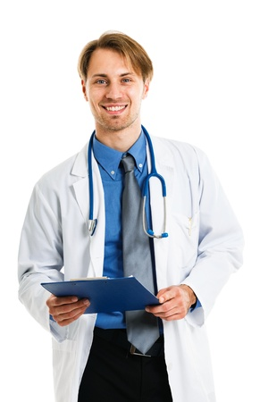 Portrait of an handsome smiling doctor Stock Photo - 15444618