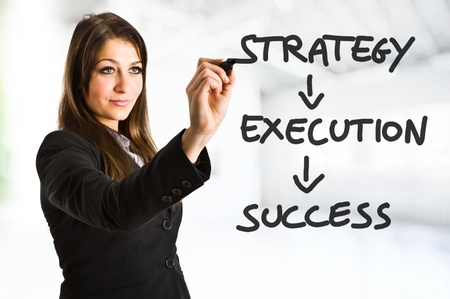 successful strategy: Beautiful woman writing a business concept
