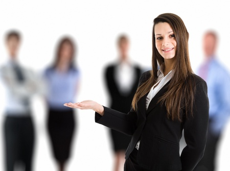 introducing: Portrait of a woman introducing her team Stock Photo