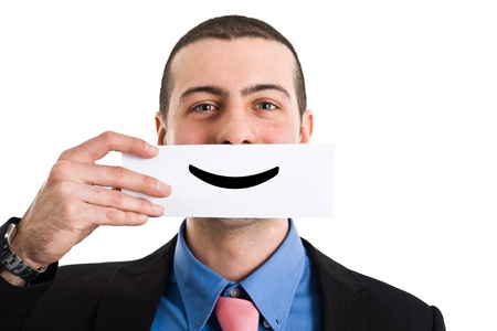 satisfied customer: Portrait of a funny smiling businessman