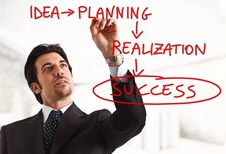 startup: Businessman showing the way to success