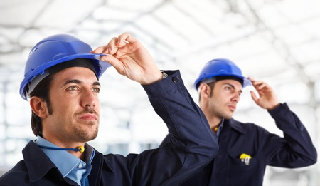 chemical engineering: Portrait of two engineers looking at something