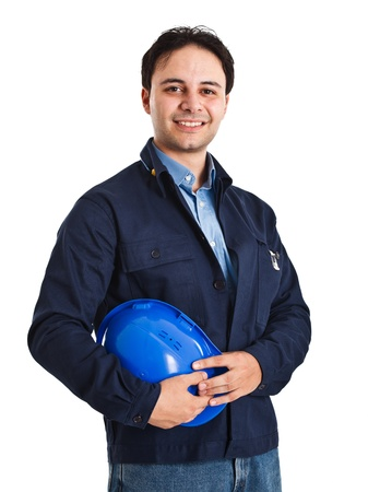 industrial site: Portrait of an handsome worker isolated on white Stock Photo