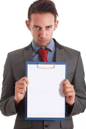 Serious businessman holding a blank notebook photo