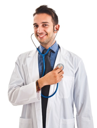 Portrait of a funny doctor examining himself Stock Photo - 15444992