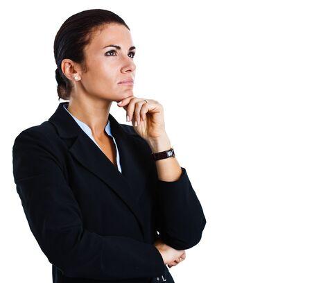 perceptive: Ritratto di una donna d'affari fiducioso isolato su bianco Archivio Fotografico