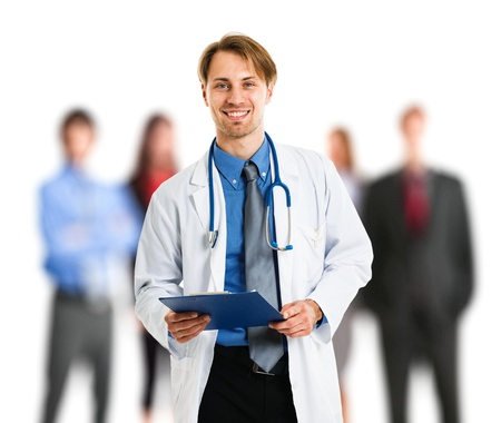 patients: Portrait of an handsome doctor in front of his patients Stock Photo