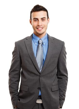 beau jeune homme: Portrait d'un homme d'affaires souriant isol� sur fond blanc Banque d'images