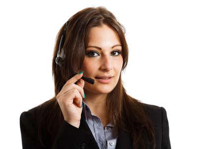 Portrait of a beautiful customer representative. Isolated on white Stock Photo - 15666541