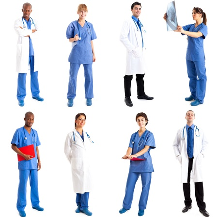 physiotherapist: Collection of full length portraits of doctors