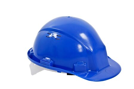 safety hat: Blue helmet isolated on white background