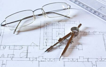 drafting tools: Drafting tools on a construction plan