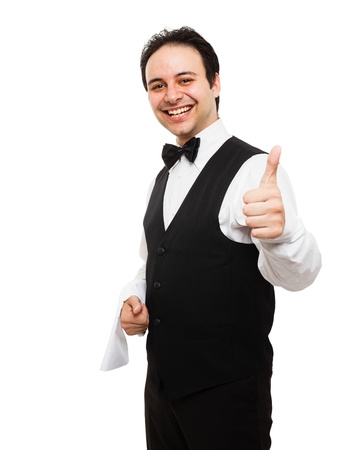 Portrait of an happy smiling waiter Stock Photo